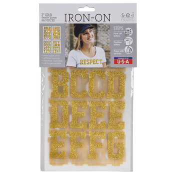 "Gold Glitter Letter Iron-On Applique Alphabet - 2"""