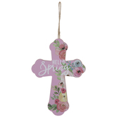 Hello Spring Floral Cross Ornament