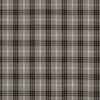 Gray Homespun Plaid Cotton Calico Fabric