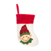 White Elf Stocking With Red Cuff