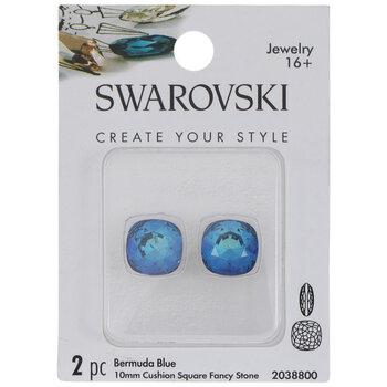 Bermuda Blue Swarovski Cushion Square Fancy Stones - 10mm x 10mm