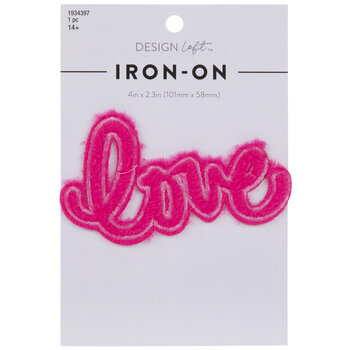 Pink Fuzzy Love Iron-On Applique