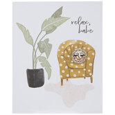 Relax Babe Chair, Rug & Plant Wood Decor