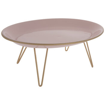 Blush Oval Metal Tray With Legs