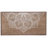 Brown & Cream Engraved Flower Wood Wall Decor