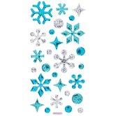 Blue & Silver Glitter Snowflake Puffy Stickers