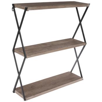 Brown & Black Three-Tiered Wood Wall Shelf