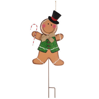 Gingerbread Boy Metal Garden Stake