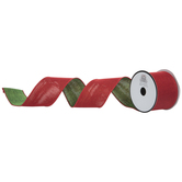 Red & Green Reversible Wired Edge Ribbon - 2 1/2""