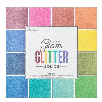 """Bold Glam Glitter Solids Paper Pack - 12"""" x 12"""""""