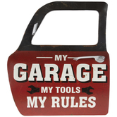 My Garage, Tools & Rules Truck Door Metal Wall Decor