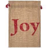 Joy Burlap Drawstring Gift Bag