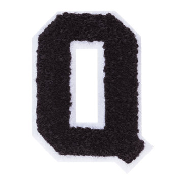 Black & White Letter Iron-On Applique - Q