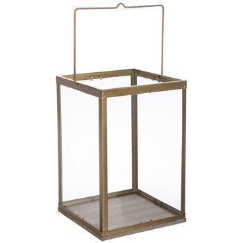 Gold Rectangle Glass Lantern