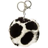 White & Black Polka Dot Poof Keychain