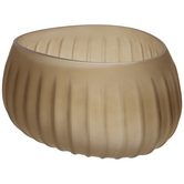 Matte Taupe Irregular Ridged Glass Bowl