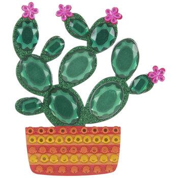 Cactus In Striped Pot Glitter & Rhinestone Sticker