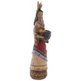 Carved Native American Holding Food Basket