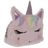 Pink Unicorn Faux Fur Cosmetic Bag