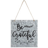 Be Grateful Galvanized Metal Wall Decor