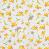 White & Yellow Daises Gauze Fabric