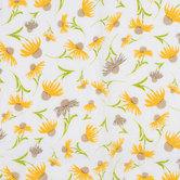 White & Yellow Daises Gauze Fabric
