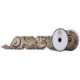 """Natural & Black Scroll Burlap Ribbon - 2 1/2"""""""