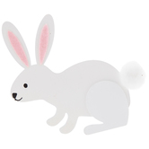 White Bunny Painted Wood Shape