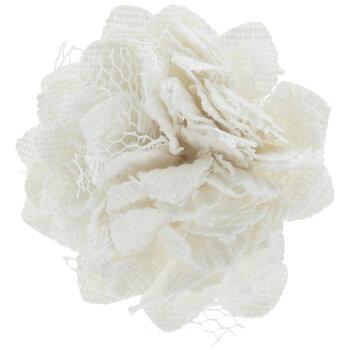 White Canvas & Lace Flowers