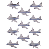 Silver Airplane 3D Stickers