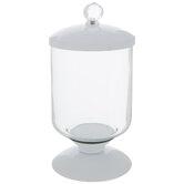 White Glass Pedestal Jar