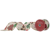 Christmas Tree Wired Edge Burlap Ribbon - 2 1/2""
