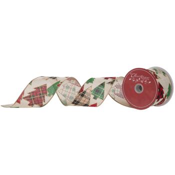 "Christmas Tree Wired Edge Burlap Ribbon - 2 1/2"""