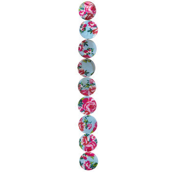 Floral Print Shell Bead Strands