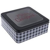 Merry Christmas Buffalo Check Square Tin
