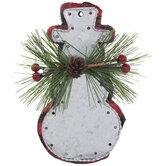 Buffalo Check & Galvanized Snowman Ornament
