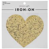 Gold Glitter Heart Iron-On Applique