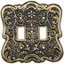 Antique Brass Floral Metal Double Switch Plate