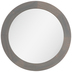Round Gray Wood Wall Mirror