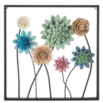 Green, Blue & Burlap Flowers Metal Wall Decor