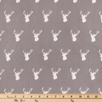 Gray Deer Head Cotton Fabric