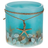 "Blue Shell LED Pillar Candle - 5"" x 5"""