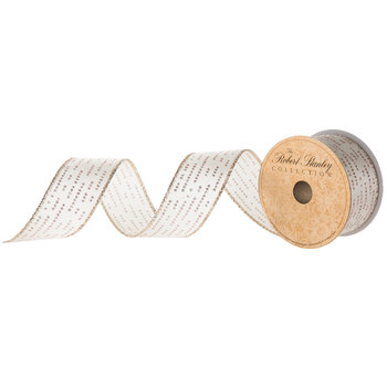 Glitter Dot Dashes Wired Edge Ribbon - 1 1/2""