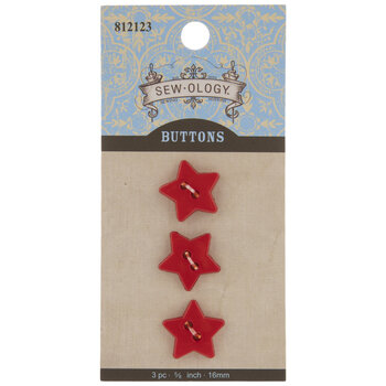 Red Star Buttons - 16mm