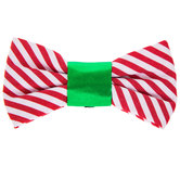 Red & White Striped Dog Collar Bow Tie