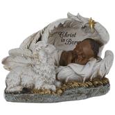 Christ Is Born Baby Jesus Sleeping In Angel Wings