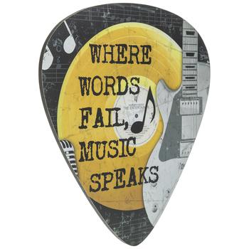 Music Speaks Pick Wood Wall Decor