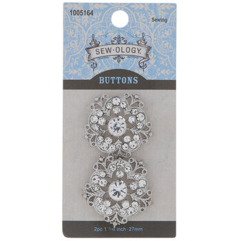 Ornate Rhinestone Flower Shank Buttons - 27mm