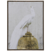 White Peacock Wood Wall Decor