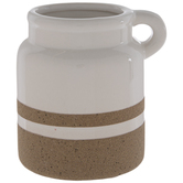 White & Stone Container With Loop Handle